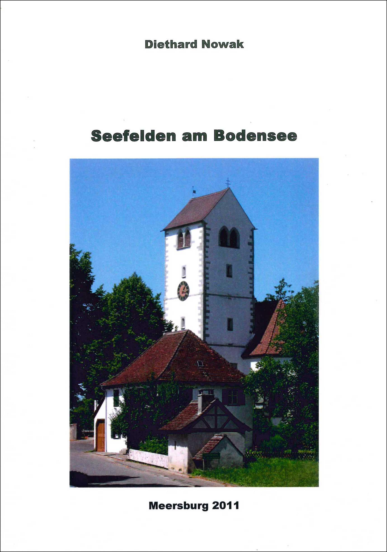 Buchvoerderseite mit dem Kirchturm von Seefelden und kleineren Gebäuden drum herum