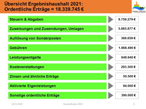 Übersicht Ergebnishaushalt 2021 - Ordentliche Erträge